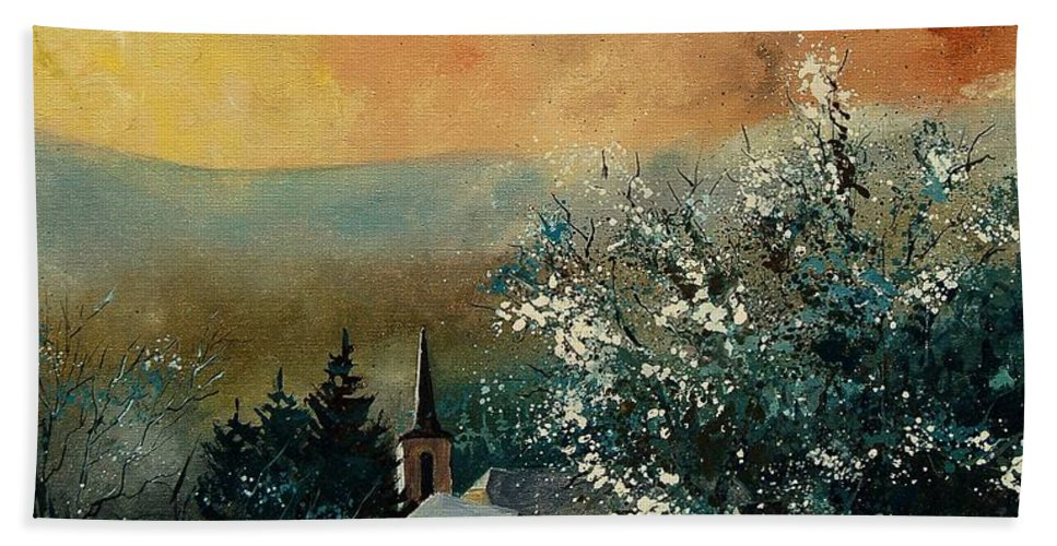 Spring Beach Towel featuring the painting Spring In Gendon by Pol Ledent