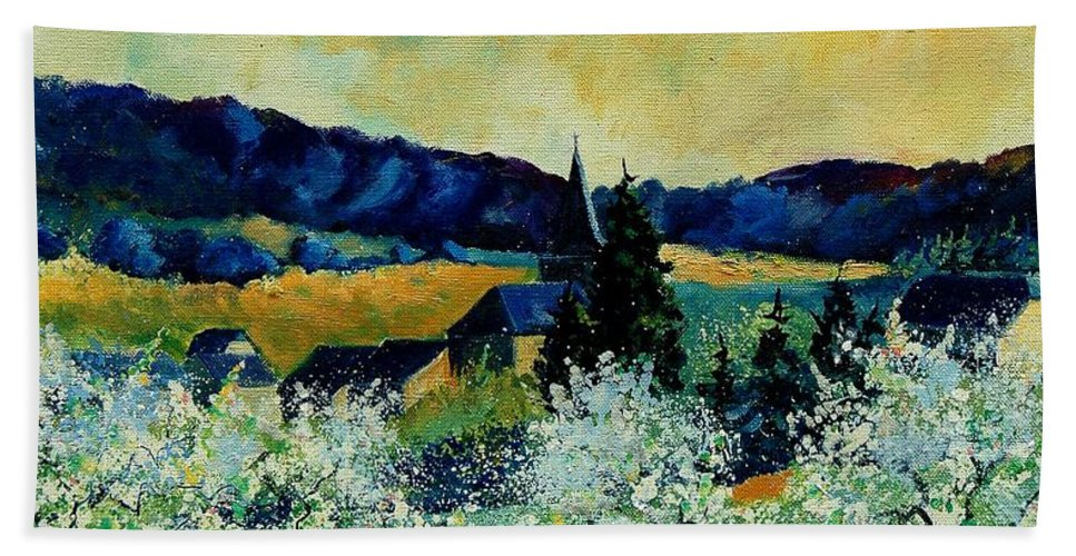 Spring Beach Towel featuring the painting Spring In Monceau by Pol Ledent