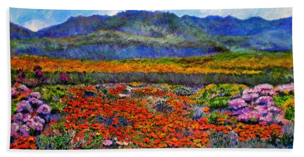 Spring Beach Towel featuring the painting Spring In Namaqualand by Michael Durst