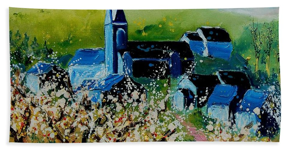 Spring Beach Towel featuring the painting Spring In Redu by Pol Ledent