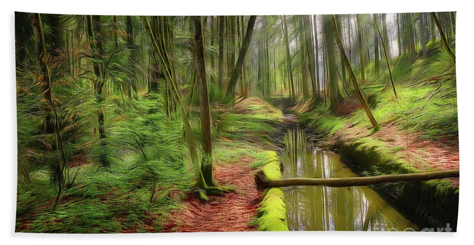 Nag004913a Beach Towel featuring the digital art Spring In The Forest by Edmund Nagele