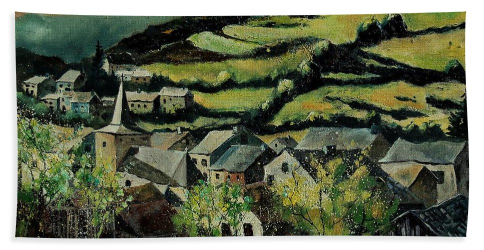 Spring Beach Towel featuring the painting Spring In Vresse Ardennes Belgium by Pol Ledent