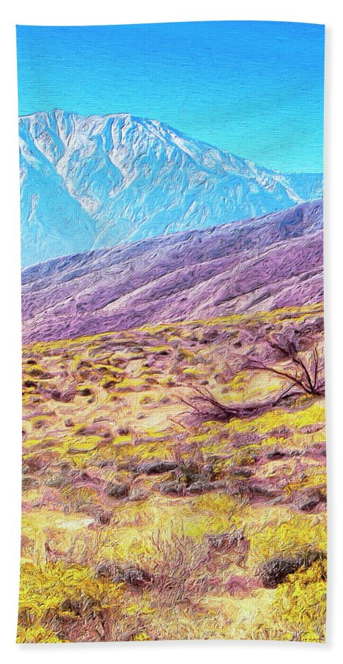Desert Beach Towel featuring the painting Spring In Whitewater Canyon by Dominic Piperata