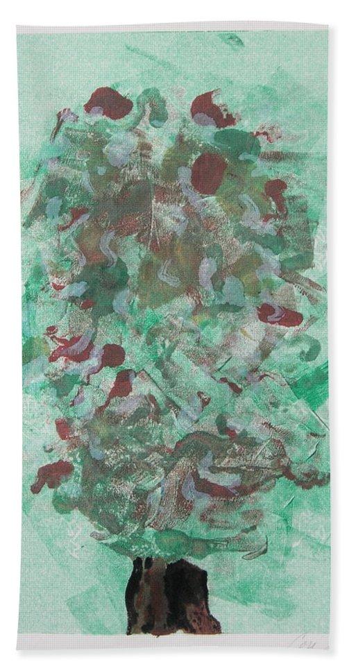 Monoprint Beach Towel featuring the mixed media Spring Interlude by Cori Solomon