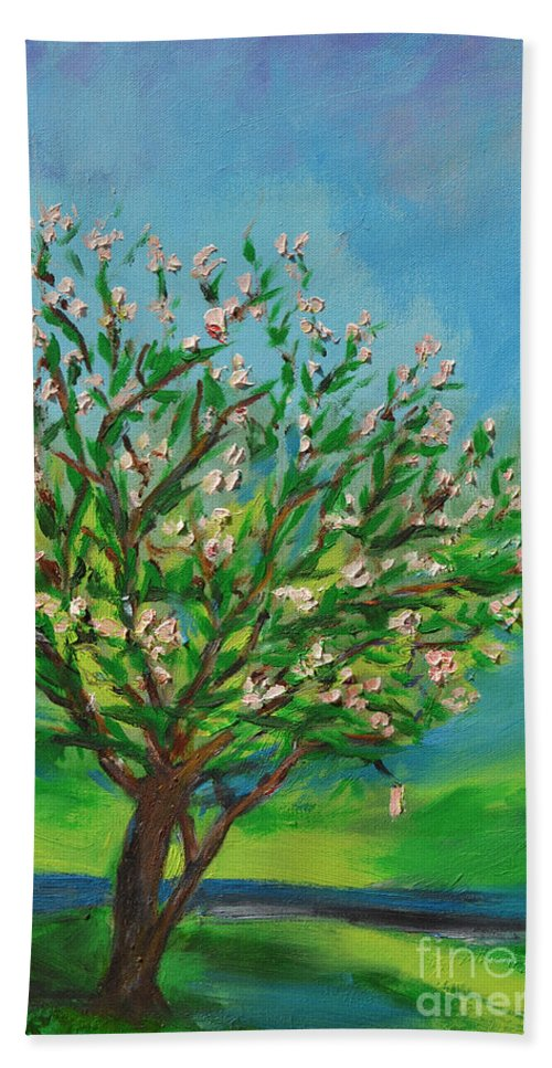 Art Beach Towel featuring the painting Spring by Karen Francis