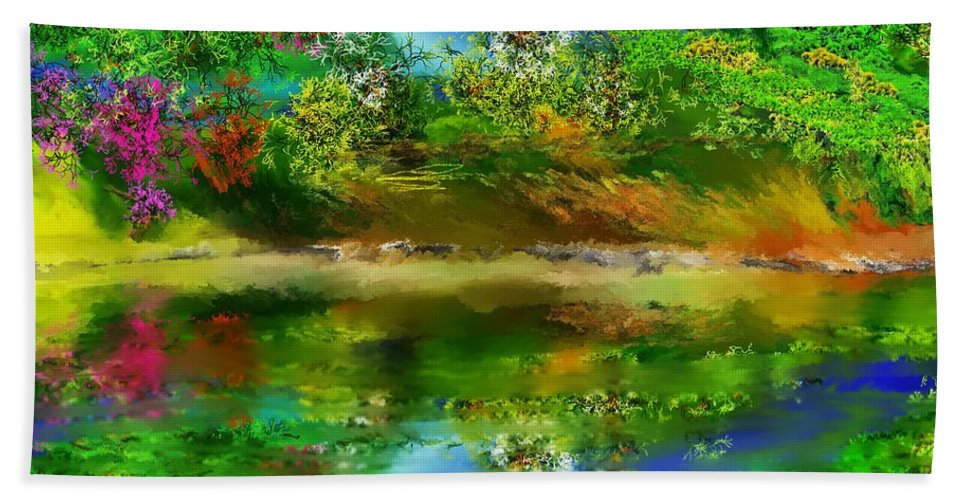 Fine Art Beach Towel featuring the digital art Spring Lake by David Lane