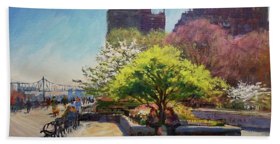 Landscape Painting Beach Towel featuring the painting Spring Morning On John Finley Walk by Peter Salwen