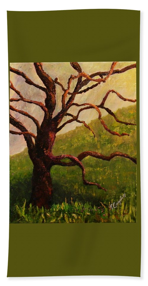 Tree Beach Towel featuring the painting Spring On Figueroa Mt. by Trish Campbell