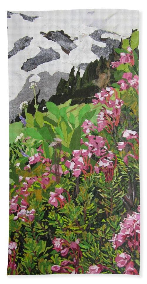 Floral Beach Towel featuring the painting Spring On Mount Rainier by Leah Tomaino
