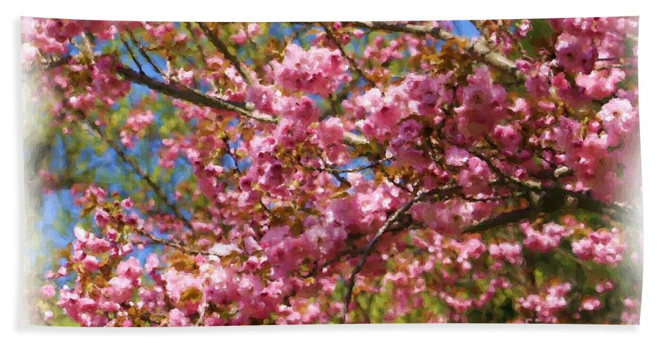Flower Beach Towel featuring the painting Spring Pink Blossoms by Smilin Eyes Treasures