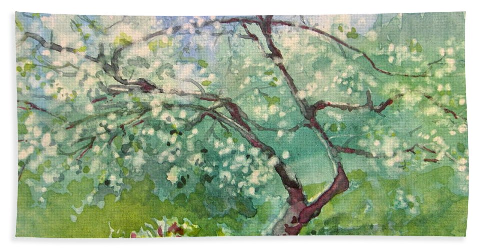 Plum Tree Beach Towel featuring the painting Spring Plum by Elizabeth Carr