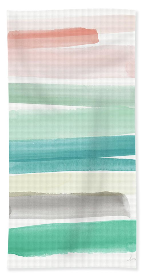 Abstract Beach Towel featuring the painting Spring Sky- Art By Linda Woods by Linda Woods