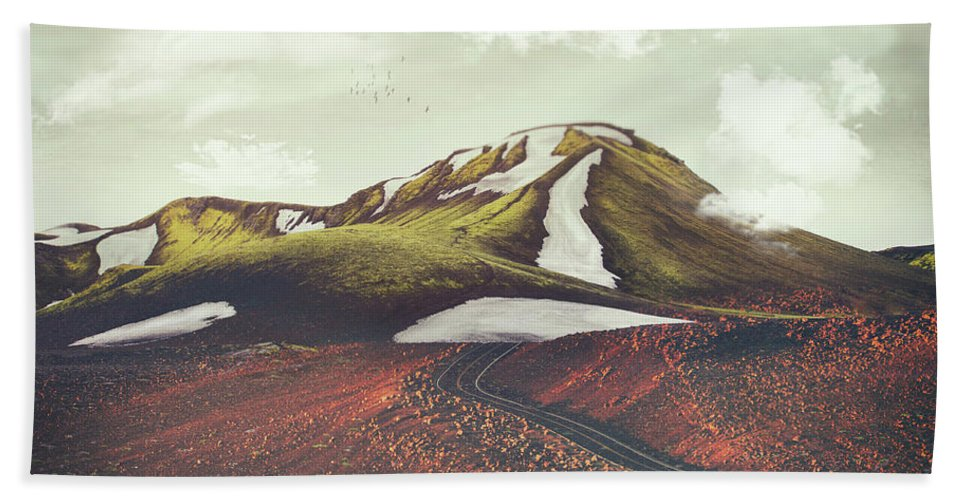 Landscape Spring Winter Dreamscape Hills Mountains Beach Towel featuring the digital art Spring Thaw by Katherine Smit