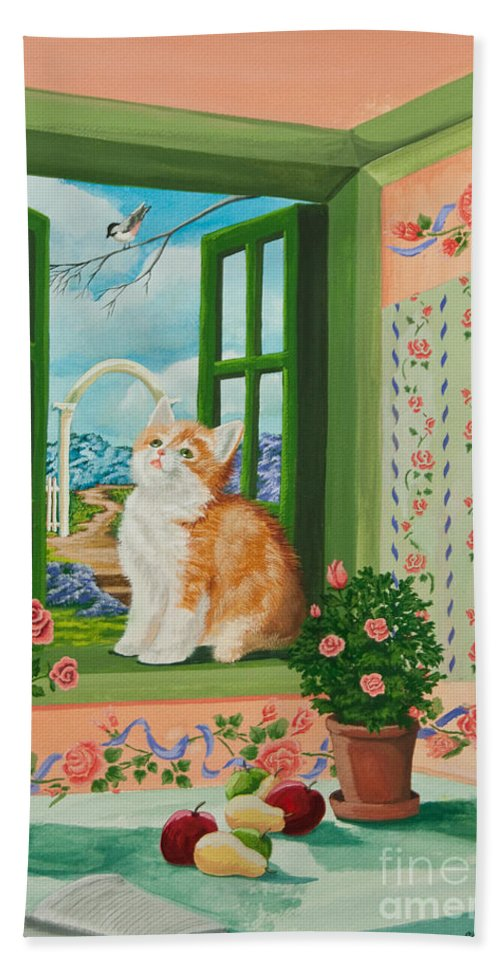 Kittens Beach Towel featuring the painting Spring Through My Window by Charlotte Blanchard