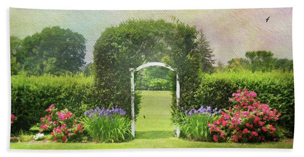 Trellis Beach Towel featuring the photograph Spring Trellis by Diana Angstadt