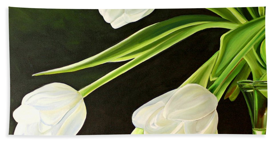 Tulips Beach Towel featuring the painting Spring Tulips by Toni Grote