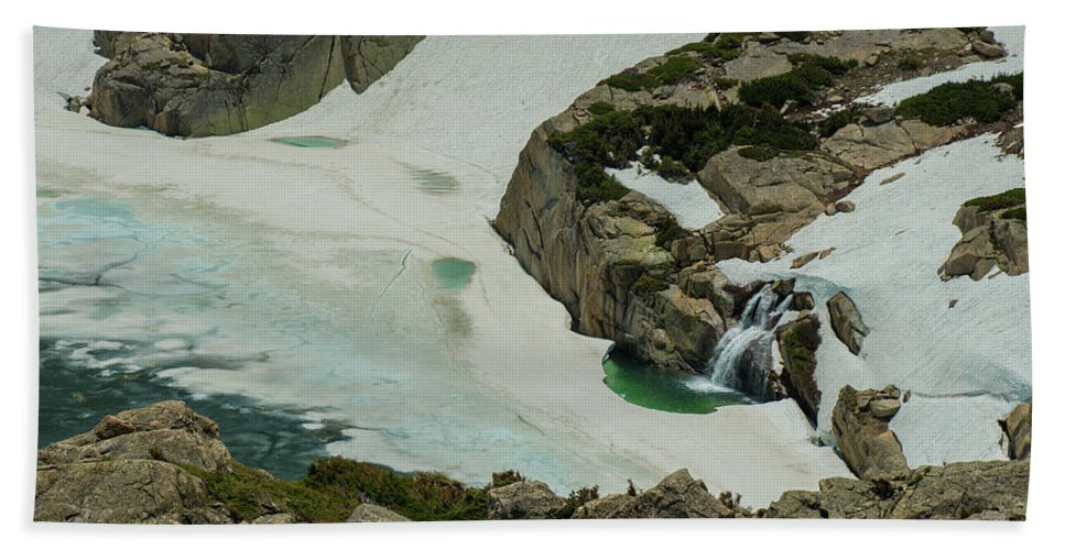 Landscape Beach Towel featuring the photograph Spring Waterfall Arial by Rob Lantz