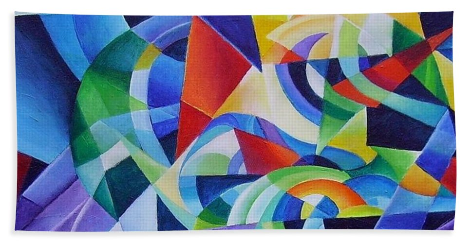 Spring Antonio Vivaldi Acrylic Abstract Music Four Seasons Beach Towel featuring the painting Spring by Wolfgang Schweizer