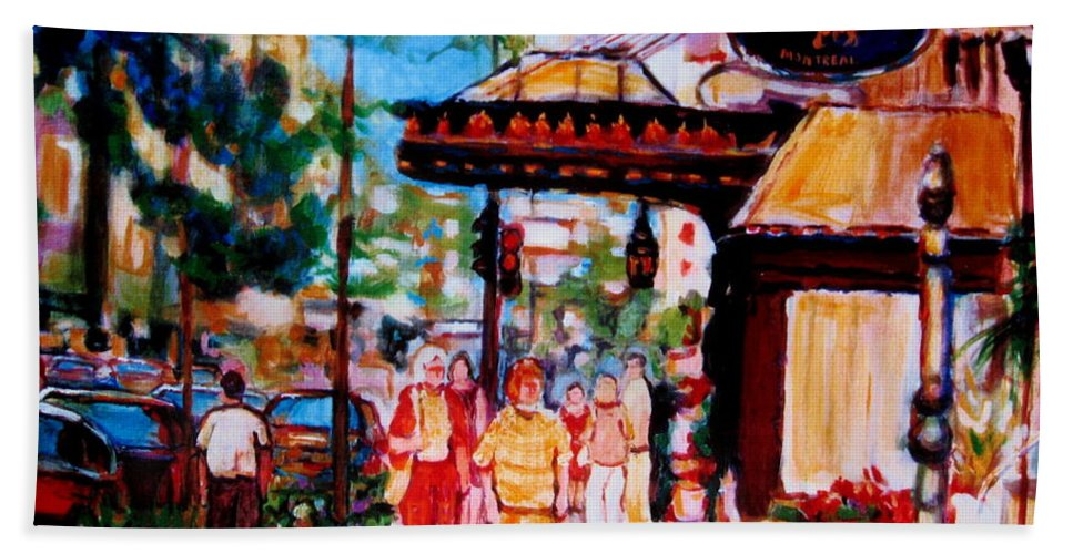 Montreal Streetscenes Beach Towel featuring the painting Springtime At The Ritz by Carole Spandau