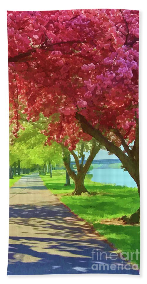 Riverfront Park Beach Towel featuring the photograph Springtime In The Park by Geoff Crego
