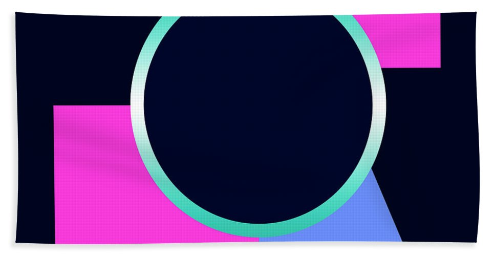 Beach Towel featuring the digital art Squares And Triangle Subsumed By Circle by Robert J Sadler