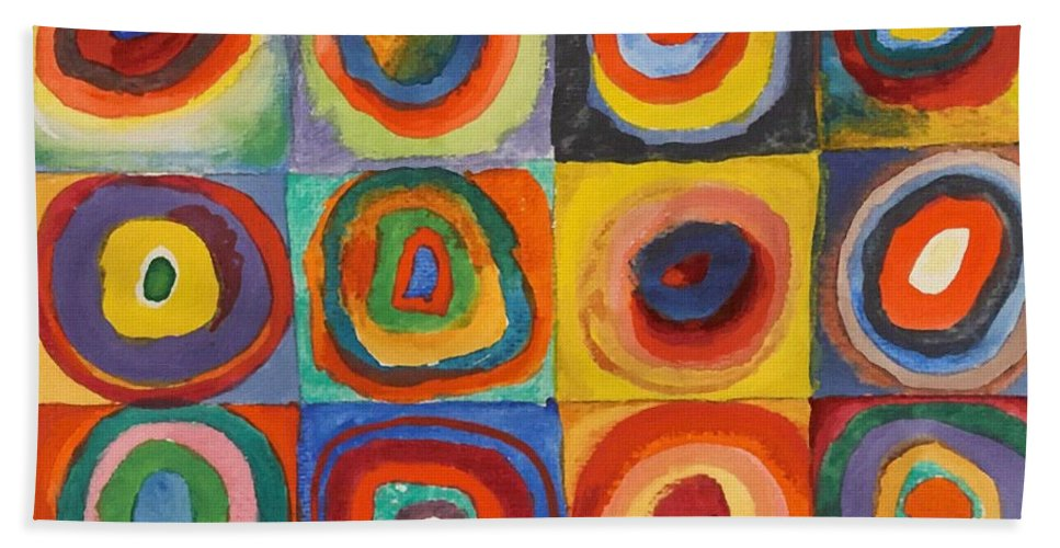 Squares With Concentric Circles Beach Towel