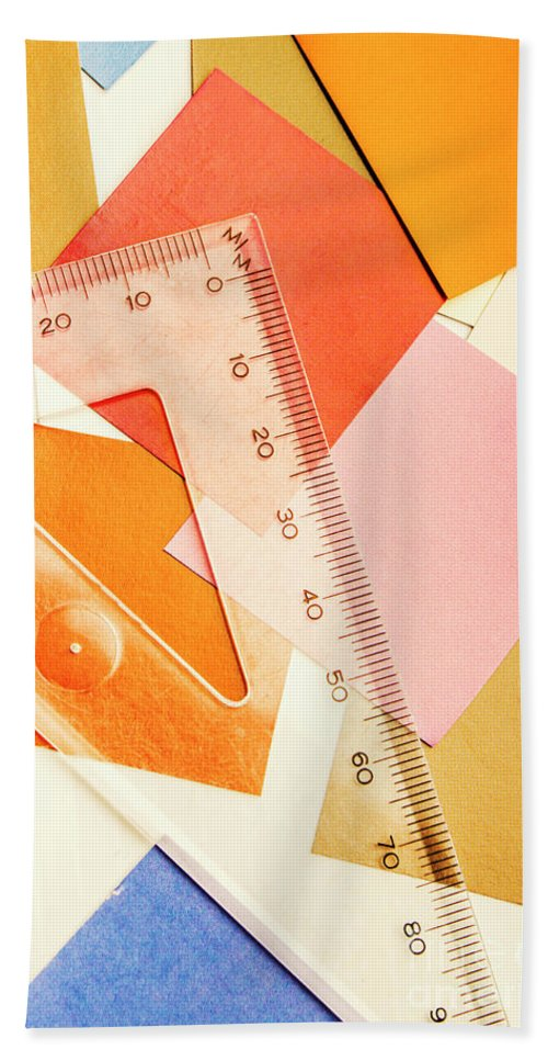 Ruler Beach Towel featuring the photograph Squaring A Triangular Rule by Jorgo Photography - Wall Art Gallery
