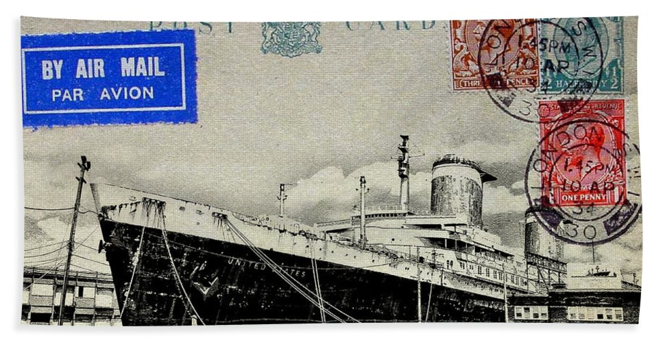 Luxury Liner Beach Towel featuring the photograph Ss United States - Post Card by Bill Cannon
