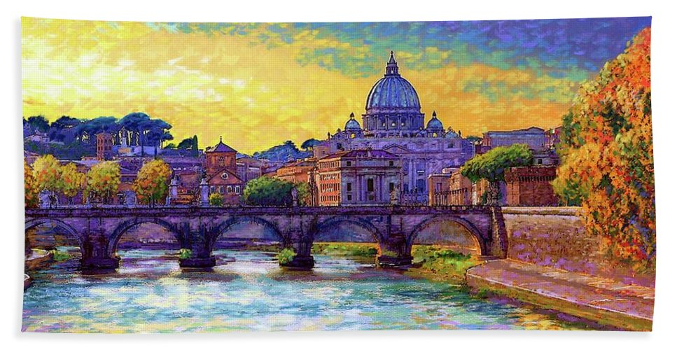 Italy Beach Sheet featuring the painting St Angelo Bridge Ponte St Angelo Rome by Jane Small
