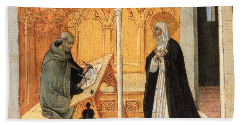 15th Century Beach Sheet featuring the painting St. Catherine Of Siena by Granger