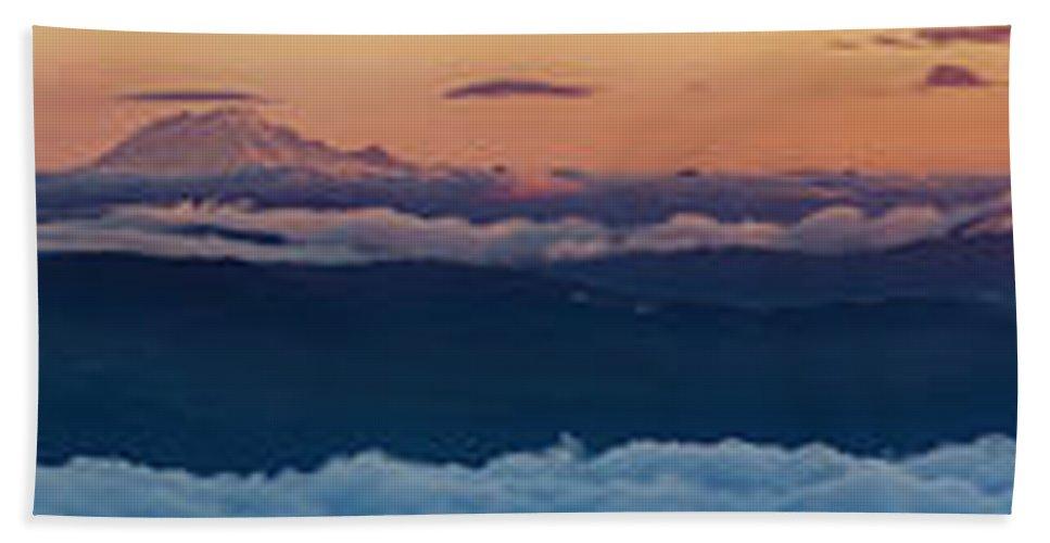 Beach Towel featuring the photograph St. Helens, Ranier, Adams by Joseph Broschart