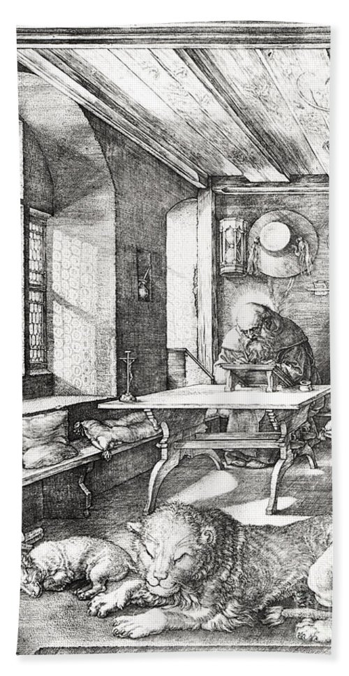 Jerome Beach Towel featuring the drawing St Jerome In His Study by Albrecht Durer or Duerer