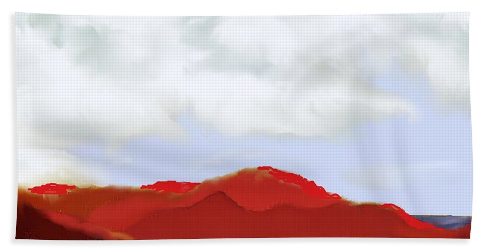 St Kitts Beach Towel featuring the digital art St Kitts Peninsula by Ian MacDonald