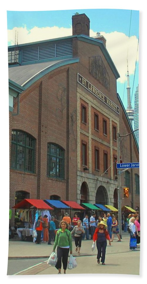 Market Beach Sheet featuring the photograph St Lawrence Market by Ian MacDonald
