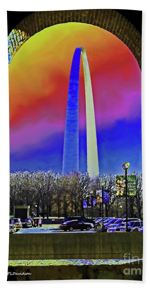 St Louis Arch Beach Towel featuring the photograph St Louis Arch Rainbow Aura by Patricia L Davidson