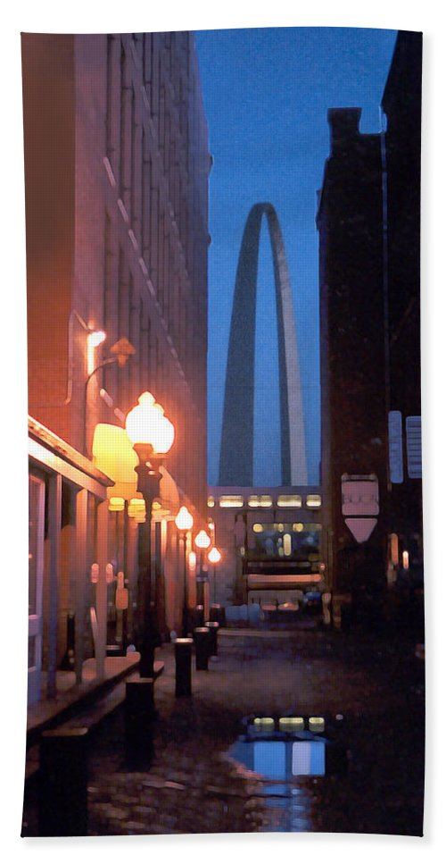 St. Louis Beach Towel featuring the photograph St. Louis Arch by Steve Karol