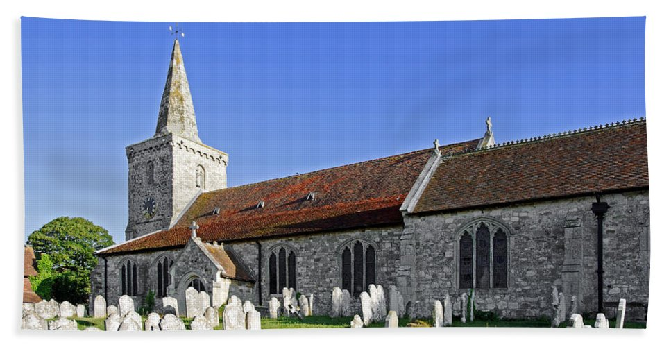 Isle Of Wight Beach Towel featuring the photograph St Mary's Church - Brading by Rod Johnson