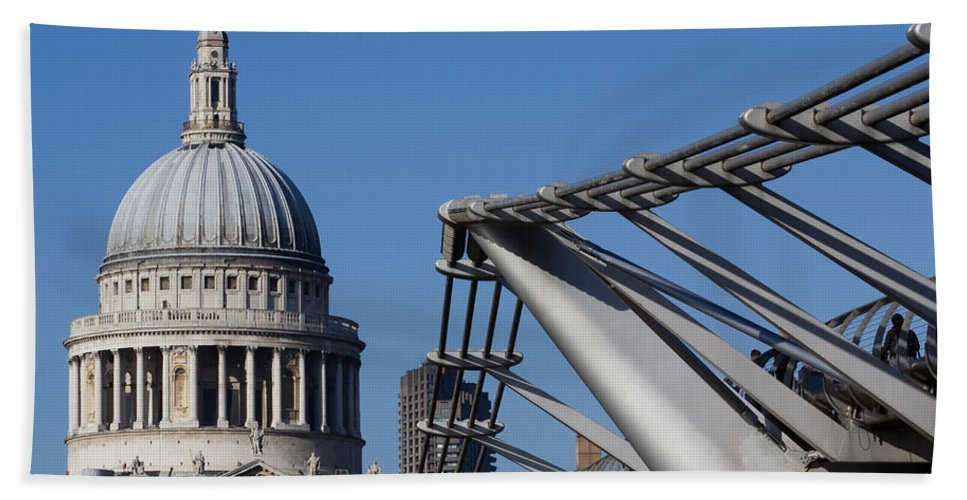 Millenium Beach Towel featuring the photograph St Pauls Cathedral And The Millenium Bridge by David Pyatt