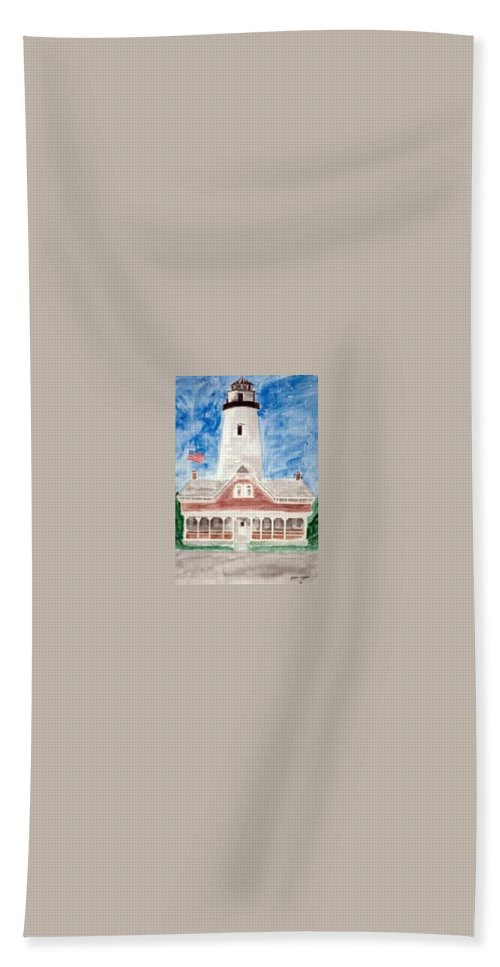 Watercolor Landscape Lighthouse Seascape Painting Beach Towel featuring the painting St Simons Lighthouse Nautical Painting Print by Derek Mccrea