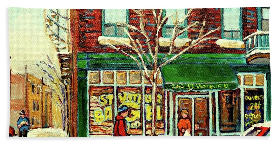 Montreal Beach Towel featuring the painting St Viateur Bagel Shop Montreal by Carole Spandau
