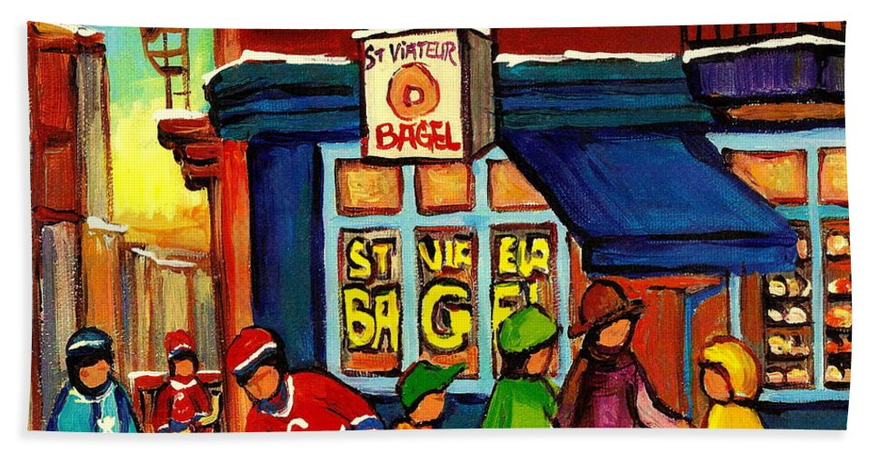 Monteeal Beach Towel featuring the painting St. Viateur Bagel With Hockey by Carole Spandau