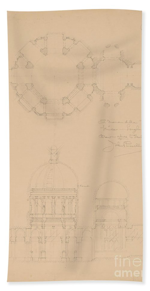 Beach Towel featuring the drawing Sta. Maria Della Salute, Venice by John Russell Pope
