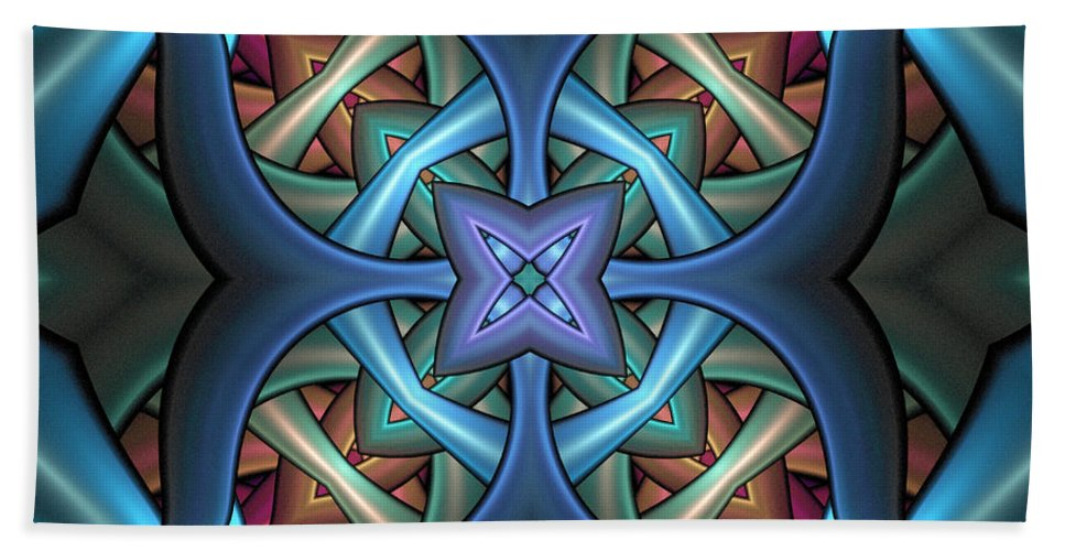 Digital Art Beach Towel featuring the digital art Stacked Kaleidoscope by Amanda Moore