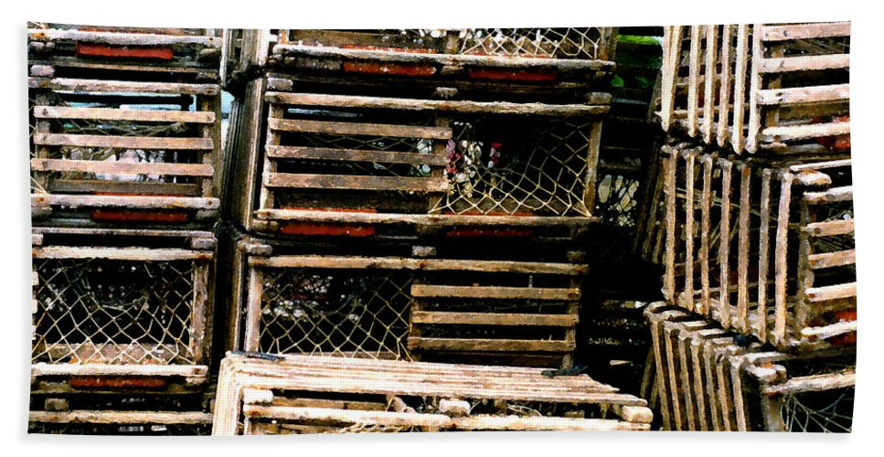 Lobster Traps Beach Towel featuring the painting Stacked Traps by Paul Sachtleben