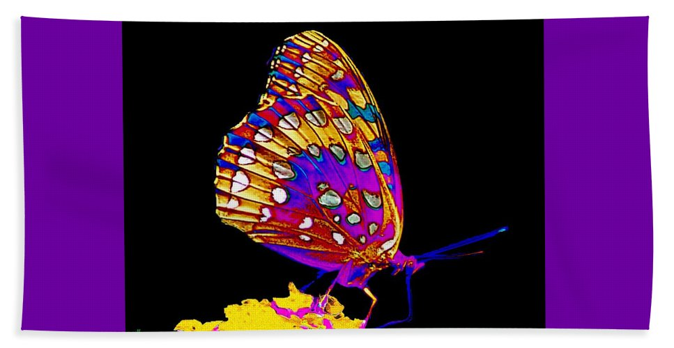 Butterfly. Insects Beach Towel featuring the painting Stained Glass Butterfly by Cliff Wilson