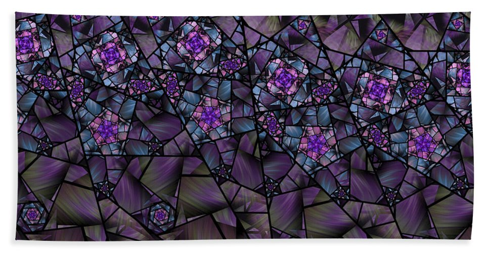 Fractal Beach Towel featuring the digital art Stained Glass Floral II by Amorina Ashton