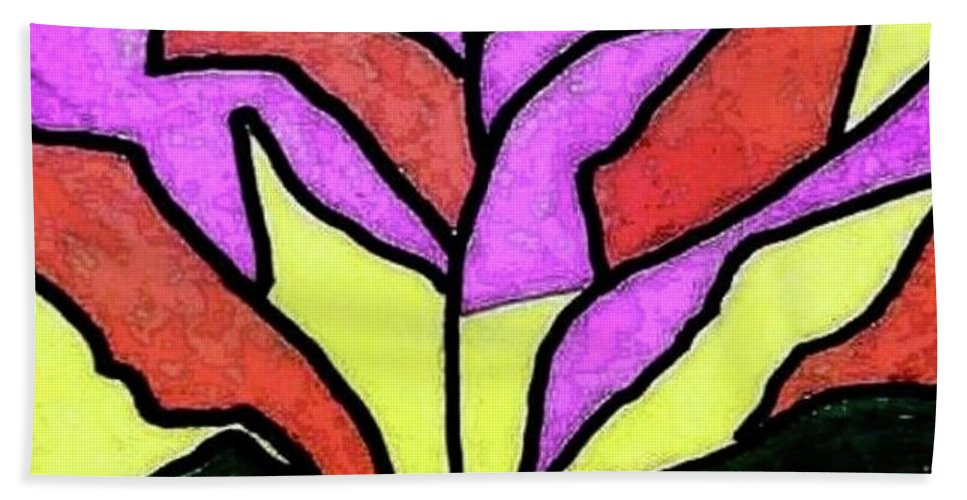 Stained Glass Beach Towel featuring the painting Tree - Stained Glass Watercolor by Thomas Walters