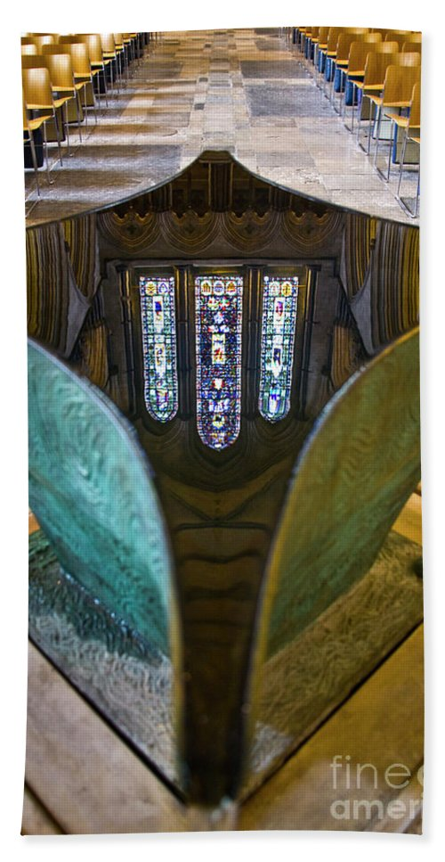 Europe Beach Towel featuring the photograph Stained Glass-window Reflection by Heiko Koehrer-Wagner