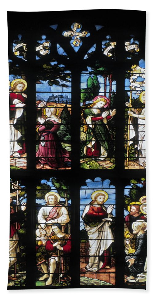 Stained Glass Church Window Beach Towel featuring the photograph Stained Glass Window by Sally Weigand