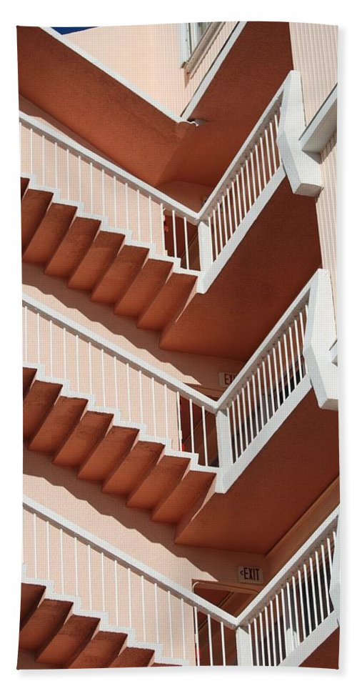 Architecture Beach Towel featuring the photograph Stairs And Rails by Rob Hans